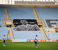 A general view of home of  Coventry City, with a flag remembering the late Jimmy Hill<br /> <br /> Photographer Andrew Vaughan/CameraSport<br /> <br /> Football - The Football League Sky Bet League One - Coventry City v Fleetwood Town - Saturday 27th February 2016 - Ricoh Stadium - Coventry   <br /> <br /> © CameraSport - 43 Linden Ave. Countesthorpe. Leicester. England. LE8 5PG - Tel: +44 (0) 116 277 4147 - admin@camerasport.com - www.camerasport.com