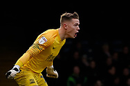 Southend United goalkeeper Nathan Bishop (13) shouting instructions at his defence during the EFL Sky Bet League 1 match between Southend United and Luton Town at Roots Hall, Southend, England on 26 January 2019.