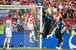 July 15, 2018 - Moscow, Russia - 180715 Domagoj Vida, Ivan Strinic of Croatia and Paul Pogba and Blaise Matuidi of France in the situation when France scored 1-0 during the FIFA World Cup final match between France and Croatia on July 15, 2018 in Moscow..Photo: Petter Arvidson / BILDBYRÃ…N / kod PA / 92087 (Credit Image: © Petter Arvidson/Bildbyran via ZUMA Press)