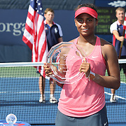 Tornado Alicia Black, USA, with her runners up trophy after losing against Ana Konjuh, Croatia, during the Junior Girls' Singles Final at the US Open. Flushing. New York, USA. 8th September 2013. Photo Tim Clayton