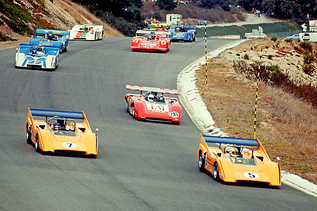 Pace lap of the 1970 Can-Am at Laguna Seca. Denny Hulme starts from pole and will win in his no. 5 McLaren M8D.