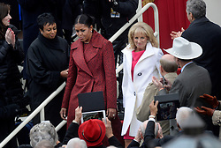 First Lady Michelle Obama and Dr. Jill Biden arrive at the 58th Presidential Inauguration on January 20, 2017 in Washington, DC..Photo by Olivier Douliery/Abaca