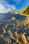 Limestone along the Atlantic shoreline at sunrise<br /> Forillon National Park<br /> Quebec<br /> Canada