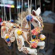 NYAUNG-U, Myanmar - A marionette toy horse for sale at Nyaung-U Market, near Bagan, Myanmar (Burma).