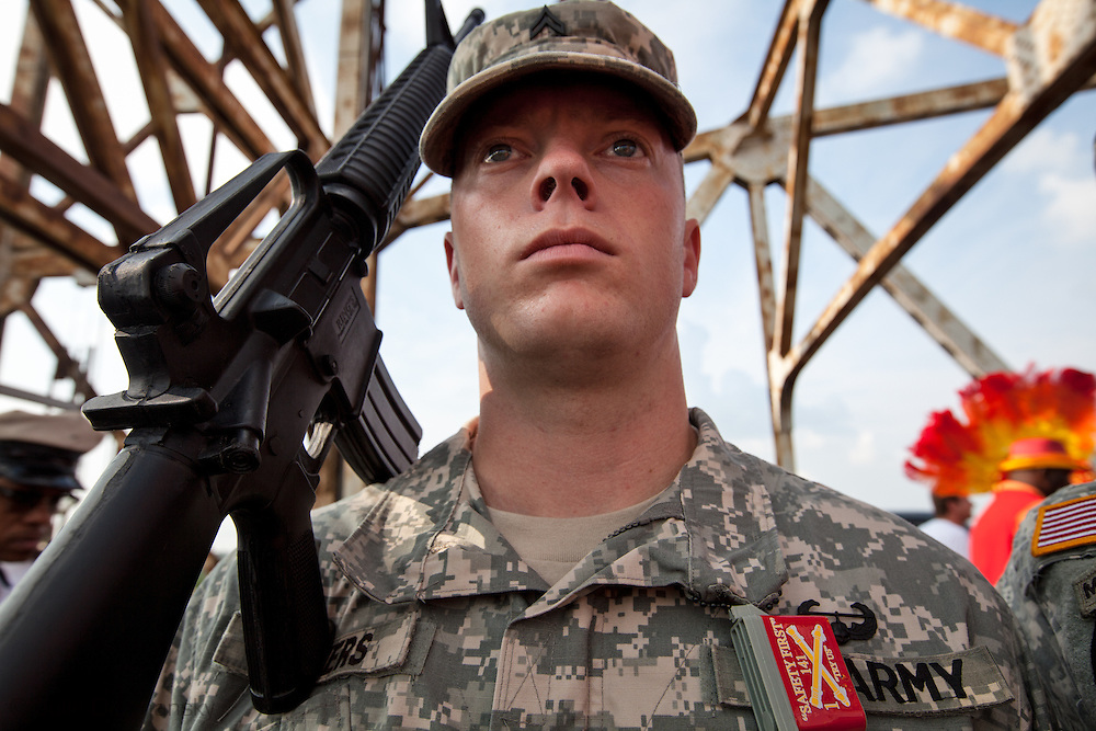 Soldier on the Claiborne Bridge  while marching to the Lower 9th Ward to mark the fourth anniversary of hurricane Katrina on Aug. 29, 2009, in New Orleans, La.