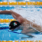 Alessandro Miressi of Italy competes in the Men's 100m Freestyle - Final at the LEN European Short Course Swimming Championships 2019 in Glasgow, Scotland, Britain, 8th December 2019.