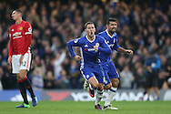 GOAL/CELE  :  Eden Hazard of Chelsea celebrates after scoring his sides 3rd goal. Premier league match, Chelsea v Manchester Utd at Stamford Bridge in London on Sunday 23rd October 2016.<br /> pic by John Patrick Fletcher, Andrew Orchard sports photography.