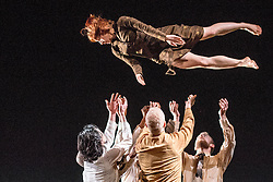 © Licensed to London News Pictures. 11/04/2013. Michael Keegan-Dolan re-imagines his Olivier-nominated version of The Rite of Spring, which premiered in 2009 to great critical acclaim. .The evening continues with Keegan-Dolan's new interpretation of Petrushka, composed by Stravinsky in 1911. Performed by the exquisite dancers of Fabulous Beast, both pieces together create an intoxicating double bill of dance theatre that honours the searing modernity of Stravinsky's music. Picture shows The Rite of Spring..Photo credit: Tony Nandi/LNP.
