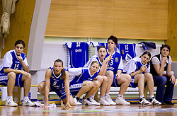 Players of Celje Tjasa Kopusar (15), Iva Ciglar (5), Amadeja Cverlin, Rebeka Abramovic, Tjasa Muhovic (13) at finals match of Slovenian 1st Women league between KK Hit Kranjska Gora and ZKK Merkur Celje, on May 14, 2009, in Arena Vitranc, Kranjska Gora, Slovenia. Merkur Celje won the third time and became Slovenian National Champion. (Photo by Vid Ponikvar / Sportida)
