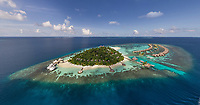 Aerial view of luxurious resort at Maldives island.
