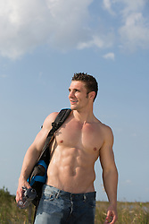 shirtless muscular hiker in The Everglades