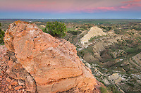 Fused clinker formations over look the Terry Badlands in Southeast Montana at sunset