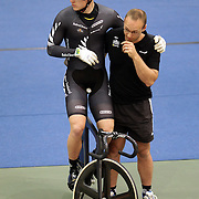 New Zealand's Sam Webster, withe head coach Tim Carswell at the 2012 Oceania WHK Track Cycling Championships, Invercargill, New Zealand. 21st November 2011. Photo Tim Clayton