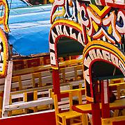 Trajineras in Xochimilco channels.<br /> Mexico city, Mexico.