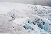 Crevasses on the edge of the Sulphide Glacier on Mount Shuksan, North Cascades National Park, Washington.