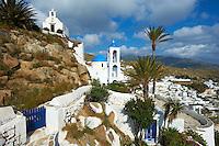 Grèce, Les Cyclades, Ile de Ios, Hora, eglise au palmier // Greece, Cyclades, Ios island, Palm tree church