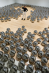 © Licensed to London News Pictures. 25/09/2018. London, UK. Art installation titled Narcissus Garden, 1966- by artist Yahoo Kusama is showing as part of the Shape Shifters Exhibition at the Haywood Gallery. Photo credit: Ray Tang/LNP
