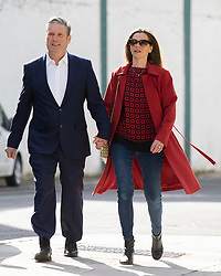 © Licensed to London News Pictures. 06/05/2021. London, UK. Labour Party Leader Sir Keir Starmer and his wife Victoria Starmer arrive at the Greenwood centre to vote on the day of Local and Mayoral elections. Photo credit: George Cracknell Wright/LNP