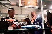 Pieter van Vollenhoven opent het WOII en Vliegeniersmuseum in Fort Vuren. Het museum vormt samen met een herinneringsroute een eerbetoon aan de bemanning van zes geallieerde vliegtuigen die tijdens de Tweede Wereldoorlog zijn neergestort op grondgebied van de huidige gemeente Lingewaal. <br /> <br /> Pieter van Vollenhoven opens the WWII and Aviation Museum in Fort Vuren. The museum, together with a memorial route, is a tribute to the crew of six allied aircraft crashed during the Second World War on the territory of the current Lingewaal municipality.<br /> <br /> Op de foto / On the Photo:  bezichtiging museum door Professor mr. Pieter van Vollenhoven