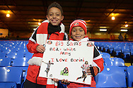 two young Sunderland  fans hold up a cardboard sign showing support of Sam Allardyce, the Sunderland manager and Fabio Borini of Sunderland before k/o. Barclays Premier league match, Crystal Palace v Sunderland at Selhurst Park in London on Monday 23rd November 2015.<br /> pic by John Patrick Fletcher, Andrew Orchard sports photography.
