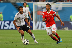 June 19, 2018 - SãO Petersburgo, Rússia - SÃO PETERSBURGO, MO - 19.06.2018: RUSSIA VS EGYPT - Samedov and Morsy during the match between Russia and Egypt valid for the 2018 World Cup held at the Zenit Arena in St. Petersburg, Russia. (Credit Image: © Ricardo Moreira/Fotoarena via ZUMA Press)