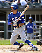 CHICAGO - APRIL 24:  Ian Desmond #20 of the Texas Rangers bats against the Chicago White Sox on April 24, 2016 at U.S. Cellular Field in Chicago, Illinois.  The White Sox defeated the Rangers 4-1.  (Photo by Ron Vesely)   Subject: Ian Desmond