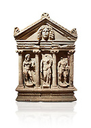 """Roman Herakles (Hercules)  relief sculptured sarcophagus, 2nd century AD, Perge, inv 928. it is from the group of tombs classified as. """"Columned Sarcophagi of Asia Minor"""".  Antalya Archaeology Museum, Turkey. Against a white background..<br /> <br /> If you prefer to buy from our ALAMY STOCK LIBRARY page at https://www.alamy.com/portfolio/paul-williams-funkystock/greco-roman-sculptures.html . Type -    Antalya    - into LOWER SEARCH WITHIN GALLERY box - Refine search by adding a subject, place, background colour, etc.<br /> <br /> Visit our ROMAN WORLD PHOTO COLLECTIONS for more photos to download or buy as wall art prints https://funkystock.photoshelter.com/gallery-collection/The-Romans-Art-Artefacts-Antiquities-Historic-Sites-Pictures-Images/C0000r2uLJJo9_s0"""