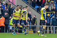 Oxford United Players Celebrate after Oxford United Defender, Curtis Nelson (5) scores a goal 2-1 during the EFL Sky Bet League 1 match between Oxford United and Scunthorpe United at the Kassam Stadium, Oxford, England on 18 March 2017. Photo by Adam Rivers.