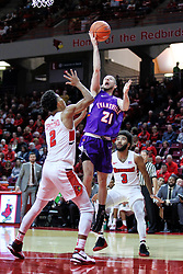 NORMAL, IL - January 05: Shea Feehan defended by Zach Copeland during a college basketball game between the ISU Redbirds and the University of Evansville Purple Aces on January 05 2019 at Redbird Arena in Normal, IL. (Photo by Alan Look)