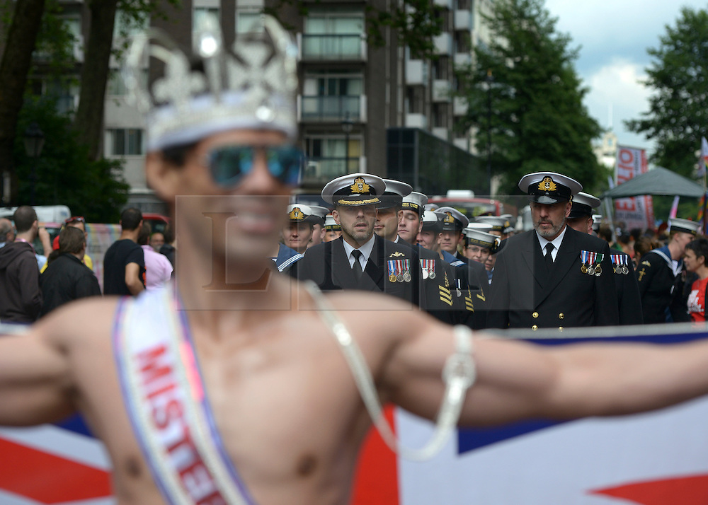 © Licensed to London News Pictures. 07/07/2012. London, UK Members of the Armed Services marched in the parade. Guests at the World Pride Procession in Central London today 7th July 2012. Despite reports of it's cancellation due to financial difficulty the scaled-down event went ahead after changes to its schedule. Photo credit : Stephen Simpson/LNP