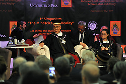 """Magistralis Degree at the Dalai Lama 21/09/2017-Pisa-Italy event by the lama At the Palazzo dei Congressi in Pisa on the last day of """"The Mindscience of Reality"""" where with the Ceremony for the Graduation of the Degree Magistralis Honoris Cause in Clinical Psychology and Health delivered to Tenzin Gyatso XIV Dalai Lama. In the photo: His SS Dalai Lama during the introductory speech at delivery Laurea magistralis. Photos RobertoCappa photojournalism."""