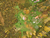 BLATUSA, CROATIA - 11 NOVEMBER 2017: Aerial view of eco village buildings surrounded by forest, Blatusa, Croatia.