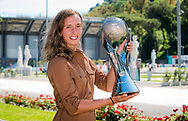 Elise Mertens of Belgium with the Doubles World No 1 trophy at the 2021 Internazionali BNL d'Italia, WTA 1000 tennis tournament on May 10, 2021 at Foro Italico in Rome, Italy - Photo Rob Prange / Spain ProSportsImages / DPPI / ProSportsImages / DPPI
