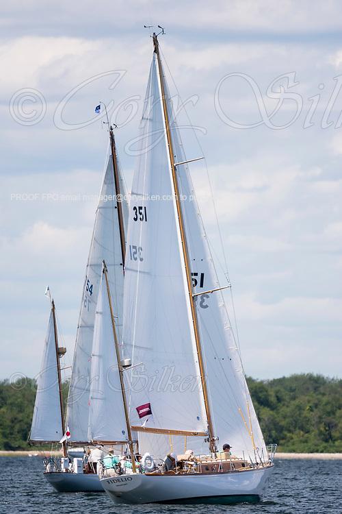 Fidelio sailing in the Panerai Herreshoff Classic Yacht Regatta.