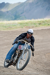 Builder Billy Lane on a 1910 Harley-Davidson flat track racer at the Broken Spoke Campground during the 75th Annual Sturgis Black Hills Motorcycle Rally.  SD, USA.  August 6, 2015.  Photography ©2015 Michael Lichter.