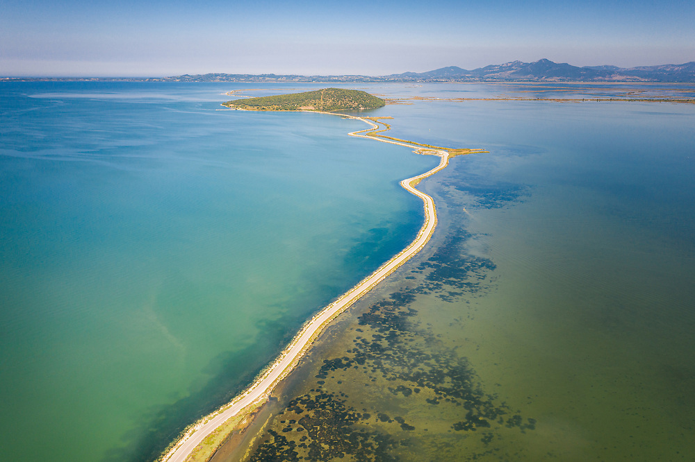 Road through Shoals of Ambracian Gulf (Gulf of Arta or the Gulf of Actium), Greece