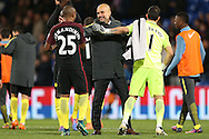 Pep Guardiola, the Manchester City manager hugs goalkeeper Claudio Bravo of Manchester City (r)  after the final whistle. Premier League match, Crystal Palace v Manchester city at Selhurst Park in London on Saturday 19th November 2016. pic by John Patrick Fletcher, Andrew Orchard sports photography.