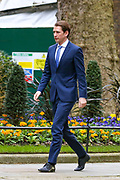 Austrian chancellor Sebastian Kurz arriving at 10 Downing Street to meet with Prime Minister Boris Johnson on Tuesday, Feb. 25, 2020. (Photo/Vudi Xhymshiti)