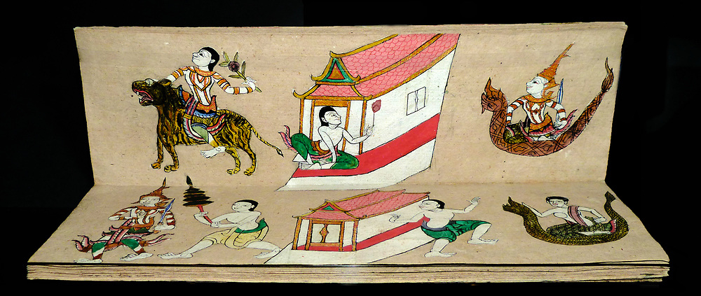 Fortune-Telling Manual circa 1850. In the past almost everyone in Thai society consulted fortune tellers. The system that they used was based on the day and month of birth of the user.  Illustration depicts the fates of individuals or of married couples in symbolic form.