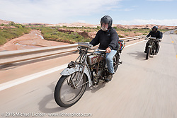Utahns Rick Salisbury (L) and Kyle Rose of Utah ride their 1916 Excelsiors during the Motorcycle Cannonball Race of the Century. Stage-11 ride from Durango, CO to Page, AZ. USA. Wednesday September 21, 2016. Photography ©2016 Michael Lichter.
