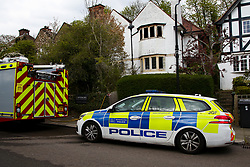 © Licensed to London News Pictures. 16/04/2021. London, UK. A police car outside a house on Springfield Avenue in Hornsey, North London where a woman in her 70s died following a fire. The fire broke out early this morning and it took 40 Firefighters, three hours to suppress the flames. The woman has not yet been identified and the cause of the fire is under investigation by the Fire Brigade. Photo credit: Dinendra Haria/LNP