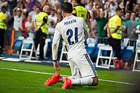 Real Madrid's player Alvaro Morata celebrating a goal during a match of La Liga Santander at Santiago Bernabeu Stadium in Madrid. August 27, Spain. 2016. (ALTERPHOTOS/BorjaB.Hojas)
