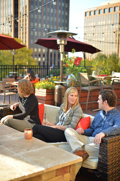 Guests relaxing on the outdoor patio at Nuevo Modern Mexican & Tequila Bar.