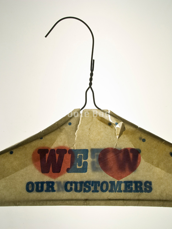 close up of a dry cleaner clothes hanger