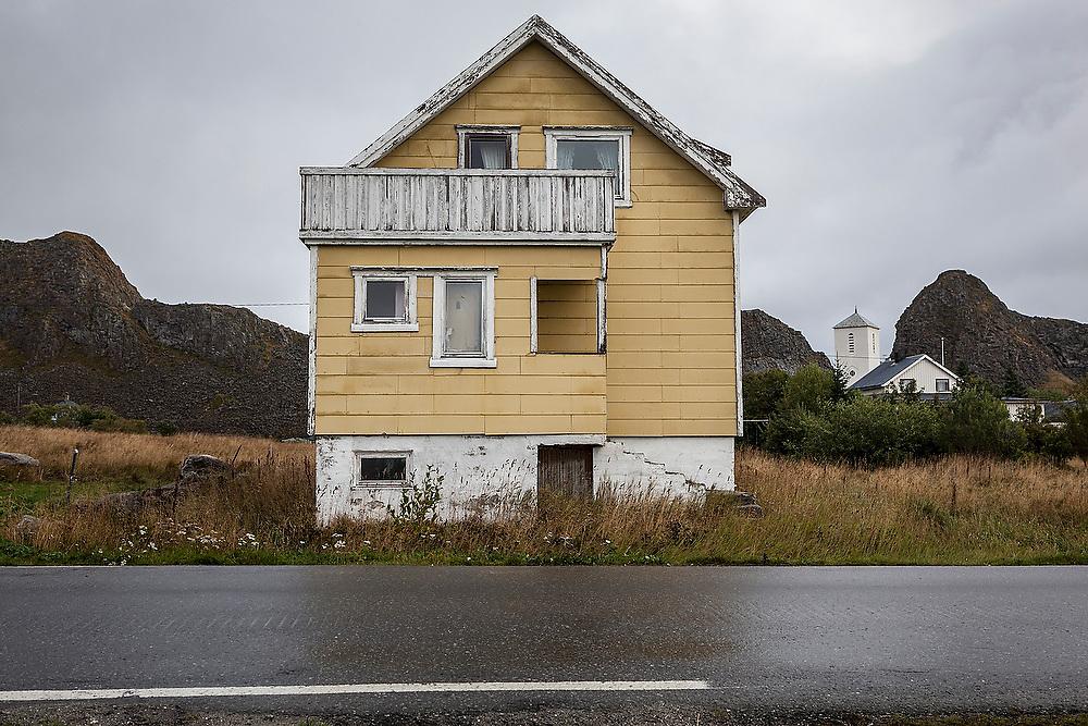 A dilapidated house in Sorland, Vaeroy Island, Lofoten Islands, Norway.