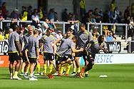 Burton Albion players warm up during the EFL Sky Bet League 1 match between Burton Albion and AFC Wimbledon at the Pirelli Stadium, Burton upon Trent, England on 1 September 2018.