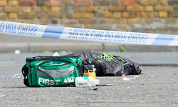 ©Licensed to London News Pictures 21/08/2020             Belvedere, UK. First aid bags at the scene of the stabbing on Heron Hill, Belvedere. Parts of Plumstead high street in South East London are closed this morning after a man was fatally stabbed to death. It is believed the man was stabbed on Heron Hill in Belvedere a short distance away. He was transferred by London Ambulance Service to an Air Ambulance land vehicle in Plumstead. Photo credit: Grant Falvey/LNP