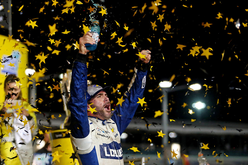 Nov 20, 2016; Homestead, FL, USA; NASCAR Sprint Cup Series driver Jimmie Johnson (48) celebrates winning the NASCAR Sprint Cup Championship after the Ford Ecoboost 400 at Homestead-Miami Speedway. Mandatory Credit: Peter Casey-USA TODAY Sports