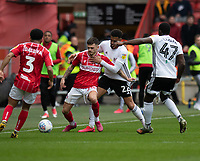 Bristol City's Jamie Paterson (centre left) is tackled by Fulham's Cyrus Christie (centre right) <br /> <br /> Photographer David Horton/CameraSport<br /> <br /> The EFL Sky Bet Championship - Bristol City v Fulham - Saturday 7th March 2020 - Ashton Gate Stadium - Bristol<br /> <br /> World Copyright © 2020 CameraSport. All rights reserved. 43 Linden Ave. Countesthorpe. Leicester. England. LE8 5PG - Tel: +44 (0) 116 277 4147 - admin@camerasport.com - www.camerasport.com