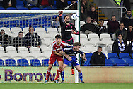 Dimitrios Konstantopoulos, the Middlesbrough goalkeeper punches the ball clear from a curling cross. Skybet football league championship match, Cardiff city v Middlesbrough at the Cardiff city Stadium in Cardiff, South Wales  on Tuesday 20th October 2015.<br /> pic by  Andrew Orchard, Andrew Orchard sports photography.